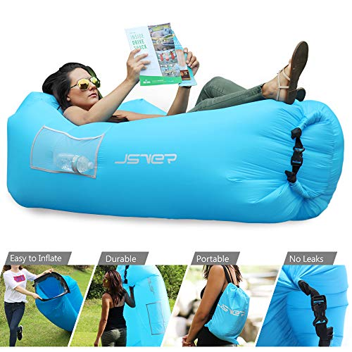 JSVER Inflatable Lounger Air Sofa Hammock Portable Waterproof Anti-Air Leaking Inflatable Lounger Pouch Couch Air Chair with Pillow for Backyard Lakeside Pool Beach Traveling Outdoor Camping Picnics