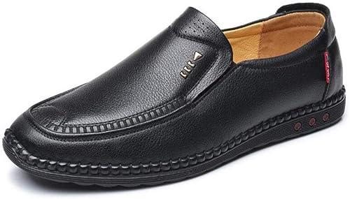 Unbekannt Herren Lederschuhe, Flache Schuhe, Frühling Herbst Fahren Schuhe, Slip-On Loafers, Bequeme Atmungsaktive Loafers,schwarz,42