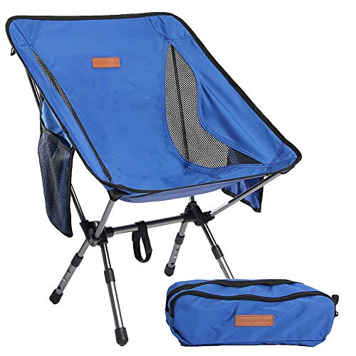 Boundary Life Backpacking Chair: Lightweight for Camping Backpacking Hiking or Hunting - Folding Compact Collapsible and Chairs fit in a Backpack Portable Folding Chair (Blue)