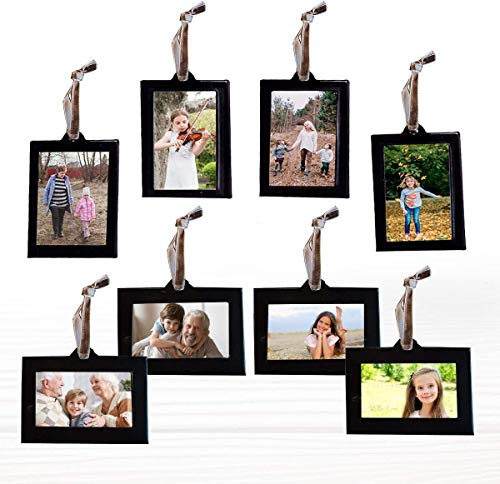 Klikel Family Tree Picture Frame Ornaments - 4 Vertical Hanging and 4 Horizontal Hanging Photo Frames - 1.5' X 2.5' Photo Opening