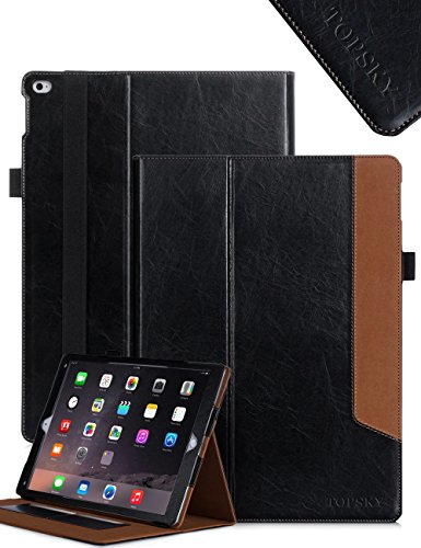 TOPSKY(TM) iPad Pro Case Cover (2015 Release),Premium PU Leather Case Smart Auto Wake/Sleep Cover with Velcro Hand Strap, Card Slots Case for iPad Pro ,With Stand Feature ,Black-Brown