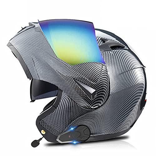 Casco de Moto Bluetooth Integrado, Radio FM Incorporada, Dispositivo de Conexión Bluetooth para Mujeres y Hombres ECE Homologado B,XL(61-62)