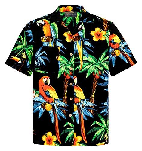 Hawaiihemdshop Hawaiihemd | Herren | Baumwolle | Größe S - 8XL | Kurzarm | Hawaiihemden | Papageien | Papagei | Schildkröten | Palmen | Meer | Blüten | Aloha | Kokosnuss-Knöpfe | Hawaii Hemd