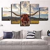 DBFHC Cuadros Modernos Impresión De Imagen Artística Digitalizada Longhorn Ganado Buey Vaca Granjas Animal Lienzo Decorativo para Salón O Dormitorio 5 Piezas XXL