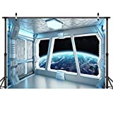 LYWYGG 10x8FT Vinyl Spaceship Interior Background Futuristic Science Fiction Photography Backdrops Spacecraft Cabin Photo Shoot Studio Props Astronomy Universe Galaxy Outer Space Station CP-214-1008