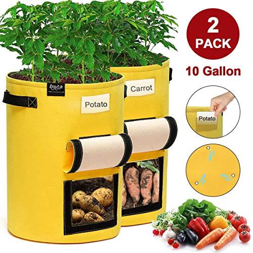 JOYXEON Pflanzen Tasche 10 Gallonen Kartoffel Pflanzbeutel, Pflanzsack Grow Bag mit Sichtfenster, 3 verstärkte Drainagelöcher, Sichtfenster Klettverschluss, 2 Griffen AtmungsaktivBeutel - 2Pack