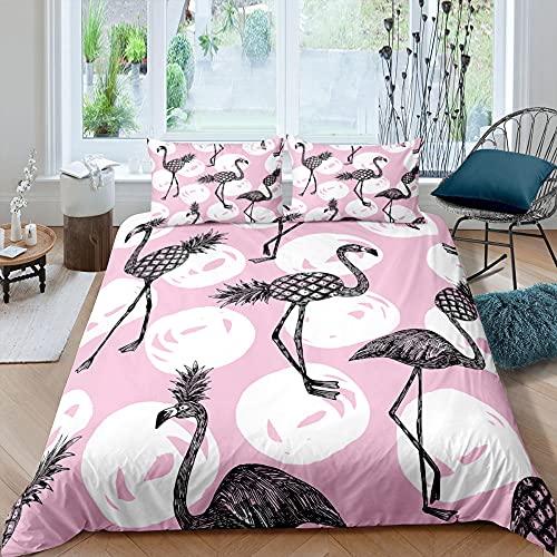 Negro PiñA Flamingo Juego De Cama Tropical Frutas 3D Impreso Rosa Funda Nordica NiñOs Adolescente Adulto PoliéSter Moda Hogar Textil, 135x200cm, 3 Piezas (1 Funda NóRdica 2 Funda Almohada)