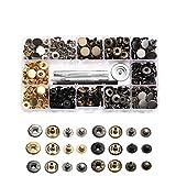 120 sets de corchetes metal,artesanía de kit snap botón para reparar,chaqueta de snaps,botones de presión de cuero,con 4 Piezas de Herramientas de Instalación(12,5 mm)