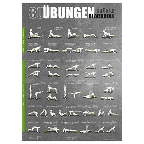 Windhund Übungsposter Blackroll - großes DIN A1 Poster mit 30 Übungen