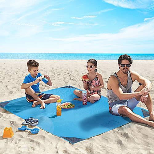 4UMOR Stranddecke,wasserdichte Picknickdecke Ultraleicht kompakt Campingdecke Leicht Outdoor Campingdecke mit 4 Zeltstöpsel für Park BBQ,Strand,Reisen,Camping und Picknick 140 * 200 (Blau)