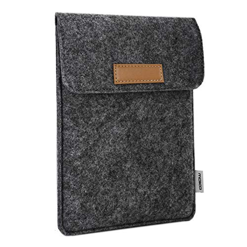 MoKo Universal 6 Zoll Felt Sleeve Hülle, Tragbare Filz Schutzhülle Druckknopf Tasche Kompatibel mit Kobo Touch 2.0, Kobo Glo HD, Tolino Shine 2HD, Tolino Vision 3HD E-Book E-Reader, Dunkelgrau