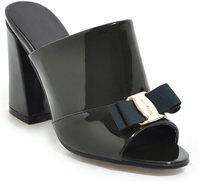 Fashion shoesbox Fashion Bowknot Heel Slide Sandals for Women Peep Toe Block Heel Platform Glitter Dress Wedges Sandals
