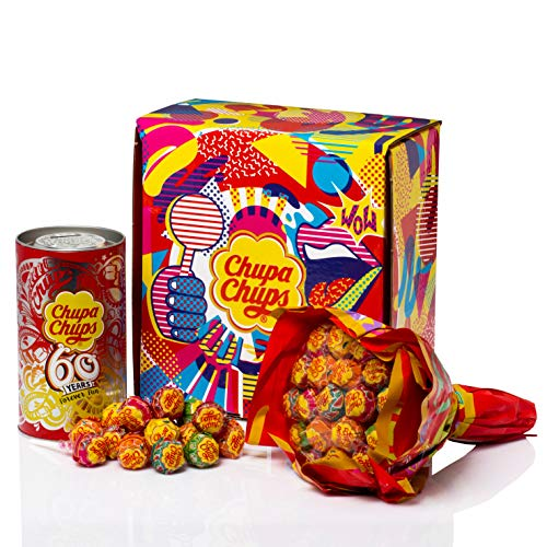 Chupa Chups Original, Caramelo con Palo de Sabores Variados, Caja Regalo con Flower Bouquet de 19 unidades y Lata de 16 unidades de 12 gr. (Total 420 gr.)