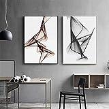 Línea abstracta en blanco y negro decoración de la sala de estar pintura...