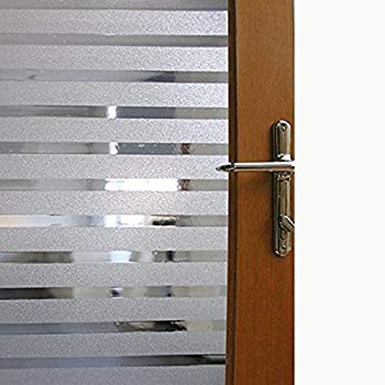 Shower Static Cling Light Block Window Film No-Adhesive Removable Striped Glass Film Bathroom Office Decorative Blind Frosted Privacy Window Cling Film,17.7 x 78.7 inches 45CM by 200CM