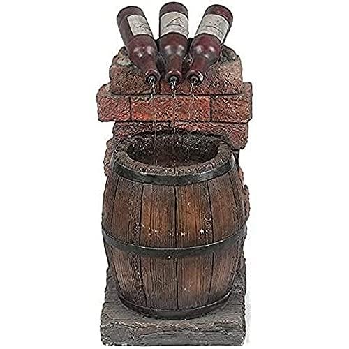 Bhgvtz Fuente de Agua de Resina Auto-circulante, Botella de Vino y Fuente de Barril, Cascada al Aire Libre, Botella de Vino al Aire Libre y decoración de Cascada de Barril