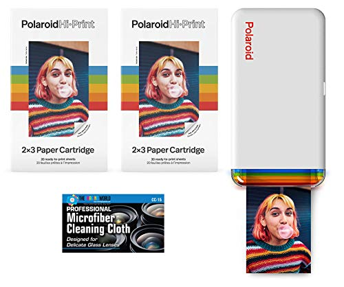 Polaroid Hi-Print - Bluetooth Connected 2x3 Pocket Phone Photo Printer with 2 Polaroid Hi·Print 2x3 Paper Cartridges (40 Sheets) and Microfiber Cloth