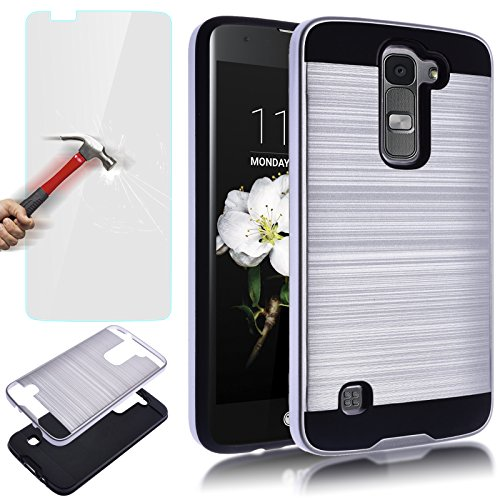 LG K7 Case, LG Tribute 5 Case,AUU Dual Layer Slim Brushed Metal Texture Full Body Impact Resistant Armor Shockproof Heavy Duty Cover Shell For LG K7 Tribute 5 Silver +Tempered Glass Screen Protector