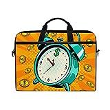 LOSNINA 15-15.4 inch Sac Ordinateur Portable,Réveil Pièces Pop Art Rétro,Nouvelle Impression sur Toile Sac à bandoulière...