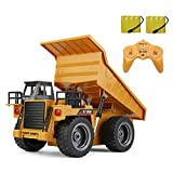 TEMA1985 Remote Control Trucks 2.4Ghz Alloy Mine rc Construction Vehicles Toy with Lights & Sounds 4 Wheel Driver Dump Truck for Boys