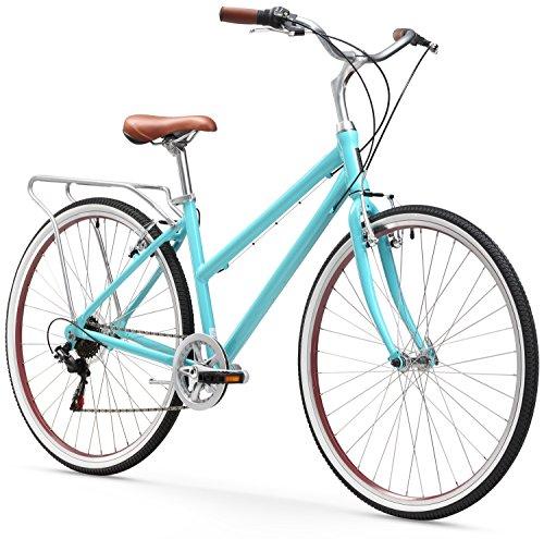 "sixthreezero Explore Your Range Women's 7-Speed Hybrid Commuter Bicycle, Teal, 17"" Frame/700x38C Wheels"