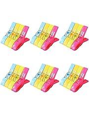 Cabilock 24 Stks Strandlaken Clips Stoel Clips Handdoek Houder Plastic Wasknijpers Opknoping Clip Klemmen Voor Zwembad Lounges Cruise Kleding Deken (Geel Rood)