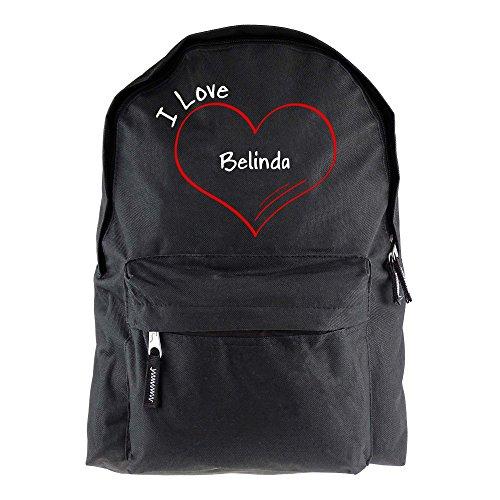Rucksack Modern I Love Belinda schwarz - Lustig Witzig Sprüche Party Tasche