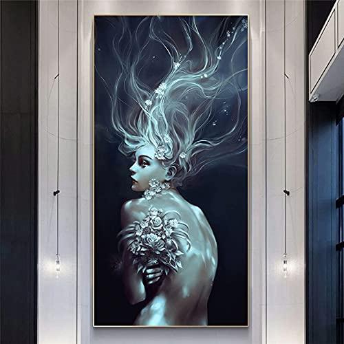 Paisaje marino nórdico abstracto chica solitaria lienzo pintura pared imágenes artísticas e impresiones hogar lienzo pared arte cartel decoración del pasillo 35x70 CM (sin marco)