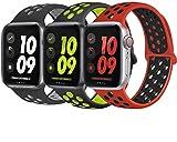 VIKATech Ersatz Armbänder für Apple Watch Armband 44mm 42mm, Weiche Silikon Ersatz Armbänder für iWatch Armband Series 6/5/4/3/2/1, M/L, 3Pack B