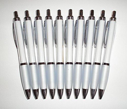 10 x Kugelschreiber WEISS - transparenter Schaft - Werbeartikel / Haushalt - 10 Stück #2