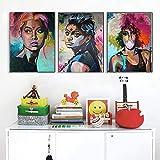 ganlanshu Cuadro En Lienzo Mujer Africana para decoración del hogar Fotos póster de Arte de pared60x80cmx3Pintura sin Marco