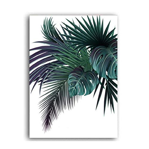 Ywsen Modern Pine Green Leaves Nordic Wall Art Canvas Painting Poster en Prints Pictures for Living Room House Decor (geen Frame) 50 x 70 cm