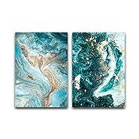 グリーンブルーオーシャン川流体抽象ウォールアートピクチャーキャンバス絵画ポスター印刷ウォールアート写真リビングルームの装飾 (Color : BW0218(1 2), Size : 50x70cm No Frame)