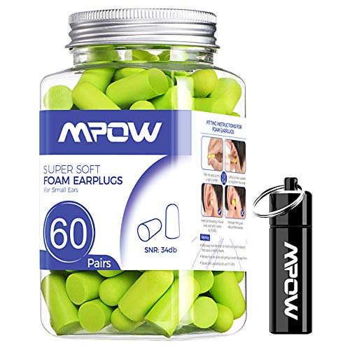 Mpow Soft Earplugs 60 Pairs for Small-Sized Ears, SNR 34dB...