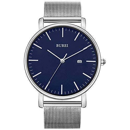 BUREI Stilvolle Minimalistische Ultra Slim Herren Uhr Blau Datum Großes Gesicht Armbanduhr mit Silber Armband