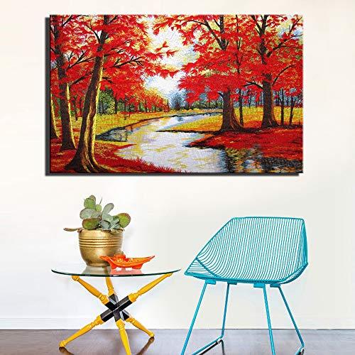 SADHAF Roter Baum auf Leinwand gemalt Abstrakt Ahorn Familiendekoration Wohnzimmer Wandkunst Kunst Dekoration A3 50x70cm