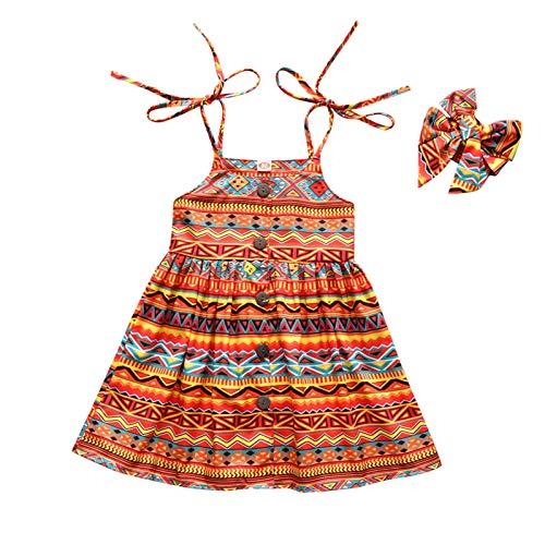 Keepwin Vestido Nia, Bohemia Vestidos Ninas Fiesta Tirantes + Diadema Ropa Bebe Nia Recien Nacido Verano Barato Disfraz Princesa Nia Bautizo Ceremonia Sin Mangas Vestir Infantil Playa