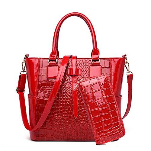 AINUOEY Damen Handtaschen Frauen Schultertaschen Umhängetaschen PU-Leder Bowlingtaschen Weinrot
