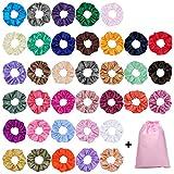 40 Piezas Scrunchies de Satén para Cabello, Glossy Hair Scrunchies Lazos Elásticos de Satén para el Cabello Ponytail...