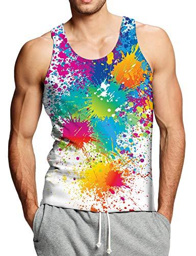 Goodstoworld Goodstoworld 3D Print Ärmellose T Shirt Herren Tanktop Sommer Bunt Farbe Unterhemd Tank Tops für Teen L