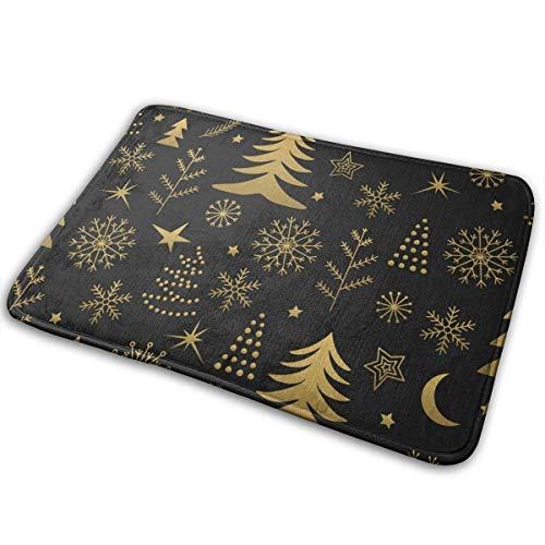 Liuqy Bath Mat Christmas Gold Memory Foam Bath Mats Non Slip Soft Absorbent Bath Rugs Rubber Back Runner Mat for Kitchen Bathroom Floors,40x60cm