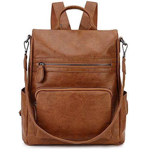 Ravuo Rucksack für Damen, PU-Leder, Anti-Diebstahl-Rucksack, modische umwandelbare Schultertasche für Damen, drei Tragemöglichkeiten, Braun (braun), Medium