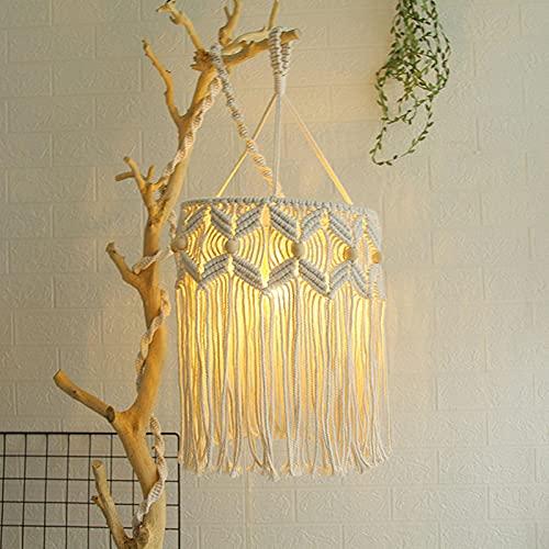 Gidenfly Pantalla de lámpara de macramé de estilo bohemio tejido a mano, innovadora pantalla de tela de tela a mano, para interior y exterior, decoración de bodas (no incluye luz)