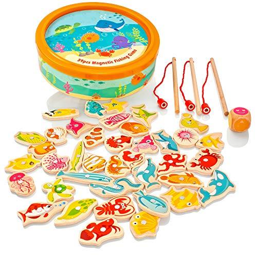 Milly & Ted - Juego de Pesca magnético de Madera - Juego de Mesa de Madera para niños o bebés