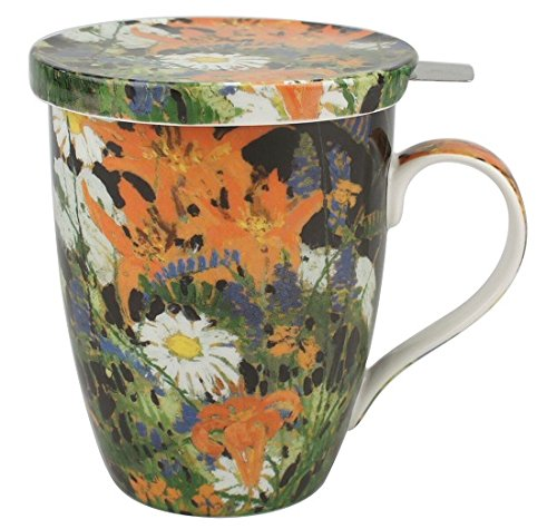 McIntosh Canadian Master - Tom Thomson Marguerites Fine Bone China (15 oz) Tea Mug with Lid and Infuser