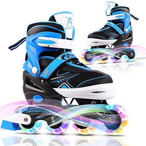 Colmanda Inliner Mit Leucht PU Räder, Kinder Inline Skates Verstellbar Leichte Inline Skates(S/M/L) ABEC 7-Lagern Triple Protection, Rollschuhe für Kinder/Jungen/Mädchen