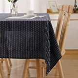 Deconovo Rectangle Tablecloth 54 x 72 Inch Striped Dark Grey Table Cover in Washable Polyester for Family Dinners Parties Hotels and More