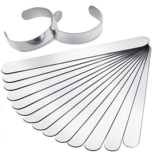 16 Pieces Bracelet Blanks Stainless Steel Blank Bracelet Cuff Bangle Bracelet for DIY Jewelry Making Customizing Bangle, 5/8 x 6 Inch