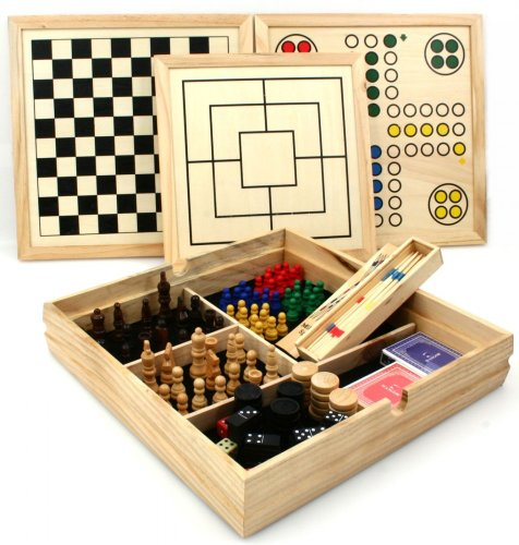 Deluxe large over 10 in 1 wooden games compendium dice games, board games, card games & more by Longfield