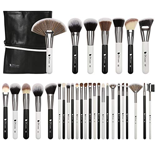 DUcare Professionelle Make Up Pinsel 31 Stücke Schminkpinsel Set Vegan Makeup Brushes Mit Tasche Premium Synthetic Foundation Concealers Augenpinsel Kits (Schwarz Weiß)